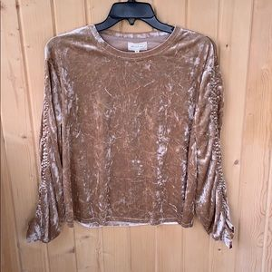 NWT Mello Day Velvet Ruched Long Sleeve Top